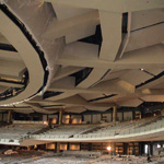 Willow Creek Community Church auditorium. Omniflx ceiling and balcony assemblies. Assembly configurations captured by Omniflx GreenFusion adhesive.